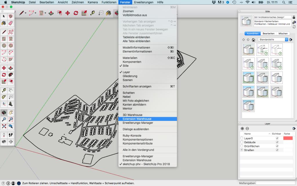 Darstellungstiefe in SketchUp-Modell – Echtzeitplanung